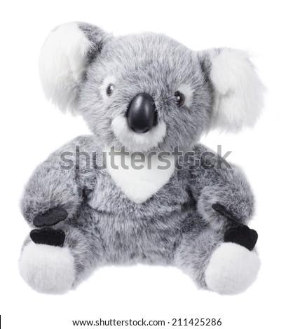 Soft Toy Koala on White Background - stock photo