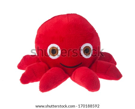 soft toy octopus on the background. - stock photo