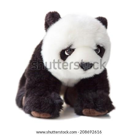 Soft Toy Panda on White Background - stock photo