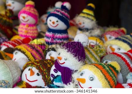 Soft toys at Christmas market of Munich Residence (Germany) - stock photo