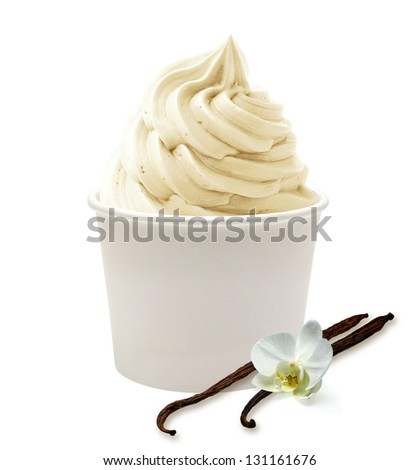Soft vanilla ice cream on white background - stock photo