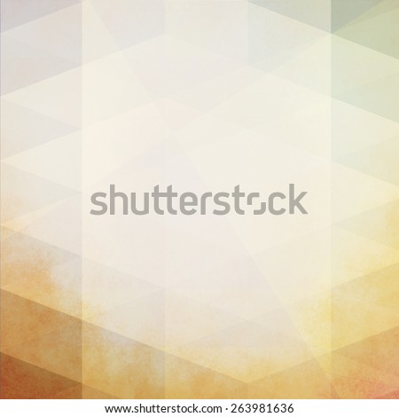 soft vintage color beige and white low poly background design with overlays of triangle shapes in diagonal pattern and orange brown stained grunge on border - stock photo