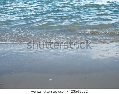 Soft wave of sea on sandy beach. Background. soft focut