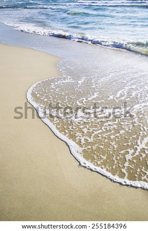 Soft wave of the sea on the sandy at Chaweng beach, Koh samui, Thailand