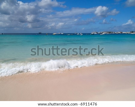 Soft waves on the beach of the Caribbean sea