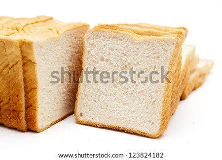 soft white bread isolated on a white background