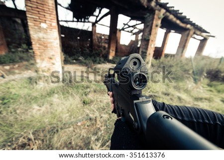 Softair player with sniper softair rifle. Concept about war, softair, hobbies and people - stock photo