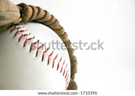 Softball and glove - stock photo