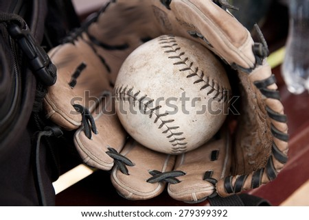 Softball Ball is in the Glove. Picture, Photo - stock photo