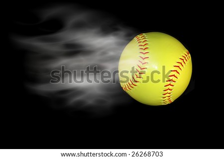 softball baseball with cloud added - stock photo