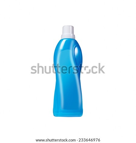 Softener in blue plastic bottle isolated on white background. Bottle with liquid laundry detergent, cleaning agent, bleach or fabric softener. - stock photo