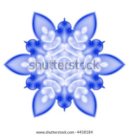 softly blurred snowflake on white background - stock photo
