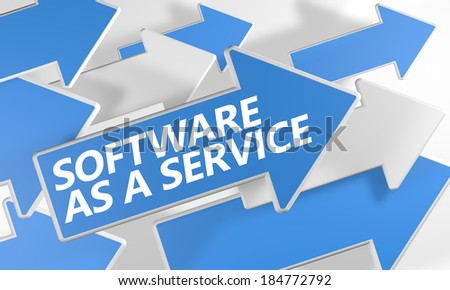Software as a Service 3d render concept with blue and white arrows flying over a white background. - stock photo