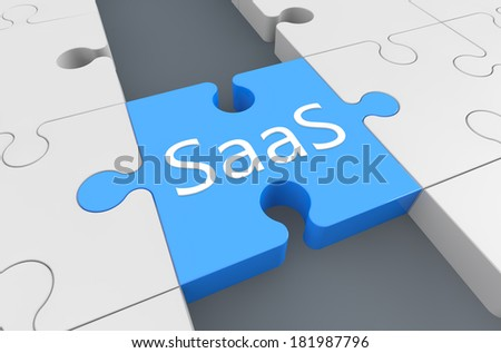 Software as a Service - puzzle 3d render illustration - stock photo