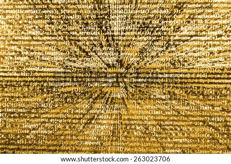 Software background coding screen of source code of developer programming language data. Script function on monitor display. Cyber abstract of web application. Stream of bits. Orange color. - stock photo