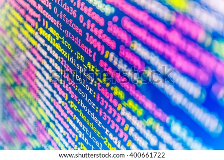 Software background. Website programming code. Software source code.  Web site codes on computer monitor. Computer program. Software development. Developer working on program codes in office.   - stock photo