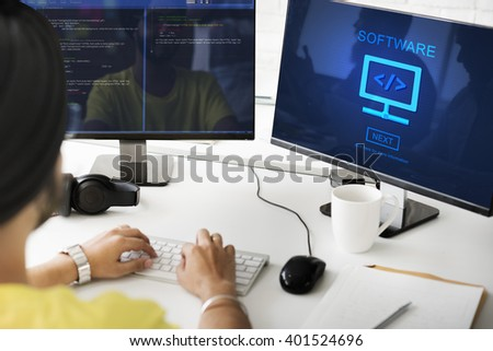 Software Computer Digital Data Homepage Concept - stock photo