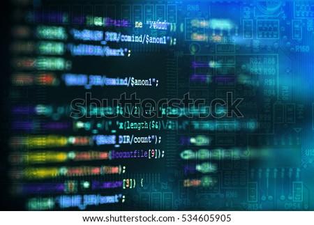 Software Computer Programming Code Circuit Board Stock Photo ...