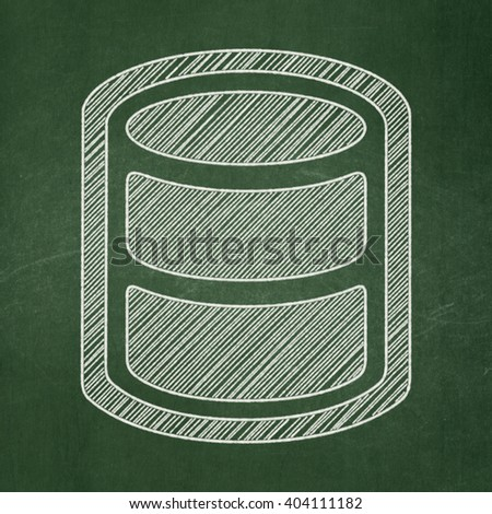 Software concept: Database icon on Green chalkboard background - stock photo