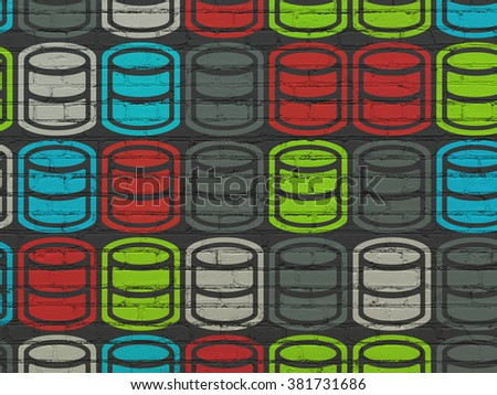 Software concept: Database icons on wall background - stock photo