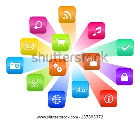 Software concept: illustration of cloud of colorful program icons isolated on white background - stock photo