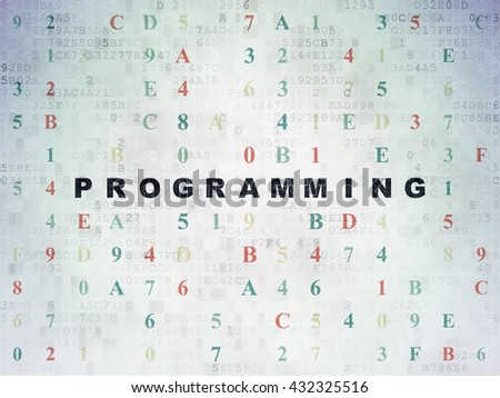 Software concept: Painted black text Programming on Digital Data Paper background with Hexadecimal Code - stock photo