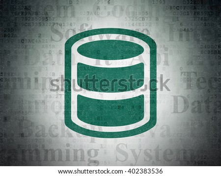Software concept: Painted green Database icon on Digital Paper background with  Tag Cloud - stock photo