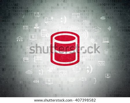 Software concept: Painted red Database icon on Digital Paper background with  Hand Drawn Programming Icons - stock photo