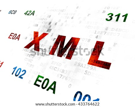 Software concept: Pixelated red text Xml on Digital wall background with Hexadecimal Code - stock photo