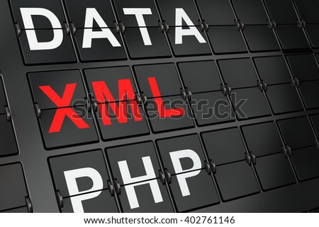 Software concept: Xml on airport board background, 3D rendering  - stock photo