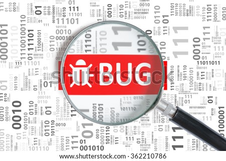 Software development and debugging concept. Bug found in binary code with magnifying glass. - stock photo