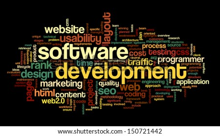 Software development concept in tag cloud on black background