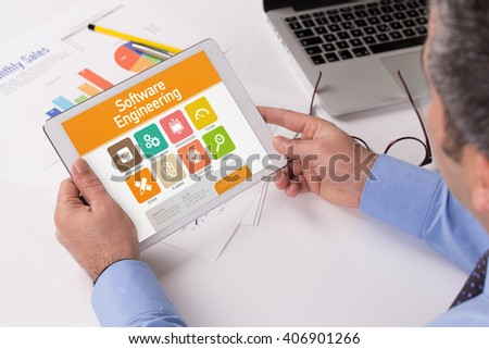 Software Engineering screen on the tablet pc - stock photo
