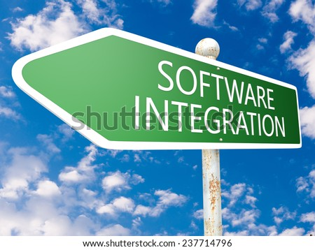 Software Integration - street sign illustration in front of blue sky with clouds. - stock photo