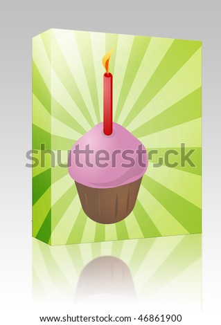 Software package box Birthday cupcake with lit candle festive illustration - stock photo