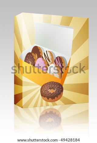 Software package box Box of assorted donuts illustration on radial burst - stock photo