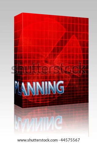 Software package box Illustration of planning budgeting finance and business pie chart - stock photo