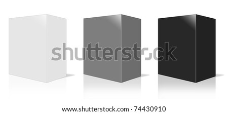 Software Package Box. It is three-dimensional box on white background. - stock photo