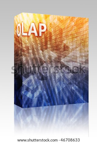 Software package box OLAP Business intellegence abstract, computer technology concept illustration - stock photo