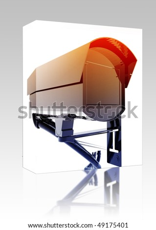 Software package box Security camera illustration glossy metal style isolated - stock photo