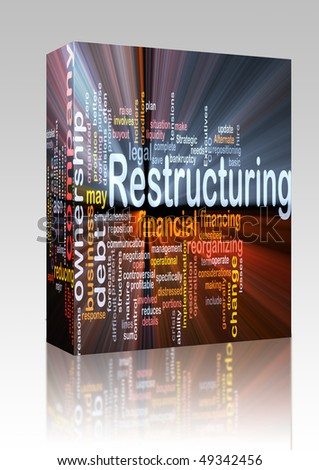 Software package box Software package box Word cloud concept illustration of company restructuring - stock photo