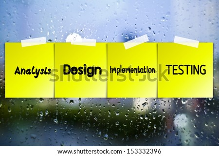 Software process sticky paper on glass with drops water background - stock photo