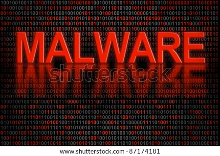 Software program infected by a malware. Conceptual indicator of software code that has been infected by malware. - stock photo