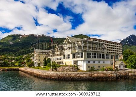 Sognefjord landscape in Balestrand, Norway. - stock photo