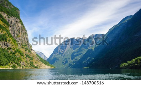 Sognefjord, the largest fjord in Norway, and the third longest in the world