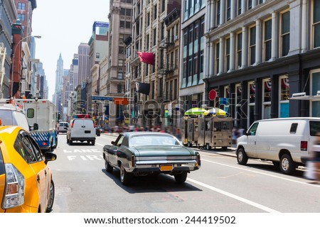 Soho street traffic in Manhattan New York City NYC USA - stock photo