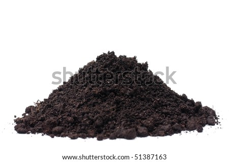 Soil heap isolated on white background - stock photo