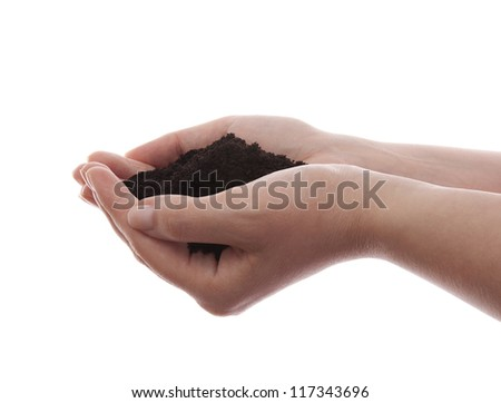Soil in hands isolated on white - stock photo