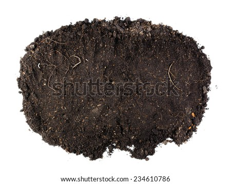 Soil in top view isolated on white background