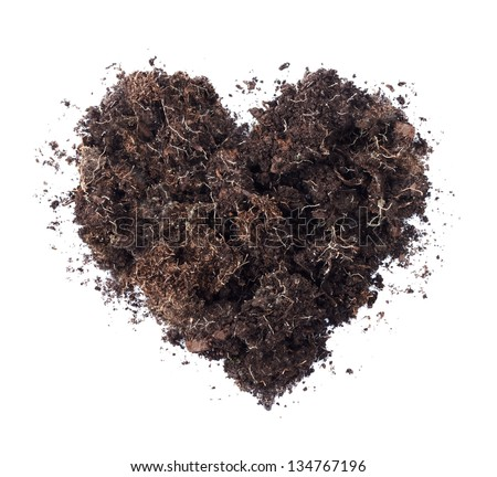 Soil shaped into a heart symbol isolated on white background - fertile land or ecology concept